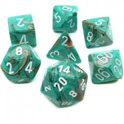 Комплект D&D зарове: Chessex Marble Oxi-Copper & White в Зарове за игри