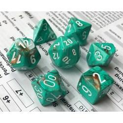Комплект D&D зарове: Chessex Marble Oxi-Copper & White в Зарове за игри