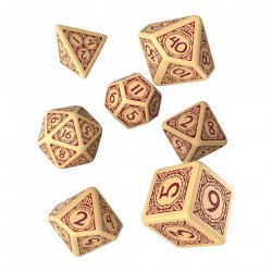 Pathfinder Second Edition: Beige and Burgundy Polyhedral 7 Dice Set
