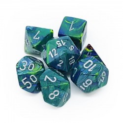 D&D Dice Set: Chessex Chessex Festive - Green/Silver in Dice sets