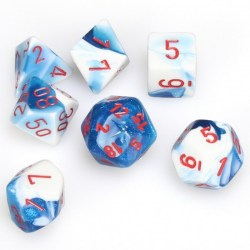 Комплект D&D зарове: Chessex Gemini # 7 Astral Blue-White w/ red в Зарове за игри