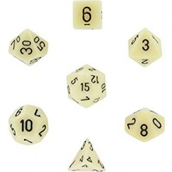Polyhedral 7-Die Set: Chessex Opaque Ivory & Black in Dice sets