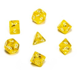 D&D Dice Set: Chessex Translucent - Yellow/white in Dice sets