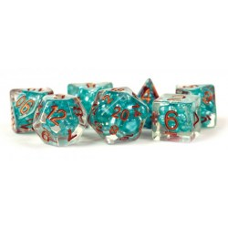 Комплект D&D зарове - Pearl Teal w/ Copper Numbers 16mm  Resin Poly Dice Set в Зарове за игри