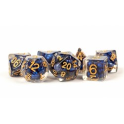 Комплект D&D зарове - Resin Pearl Royal Blue w/ Gold Numbers 16mm  Poly Dice Set в Зарове за игри