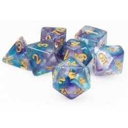 Metallic Dice Games: Unicorn Resin Polyhedral Dice Set Fancy Fae in Dice sets