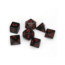 Polyhedral 7-Die Set: Chessex Opaque Black & Red in D&D Dice Sets