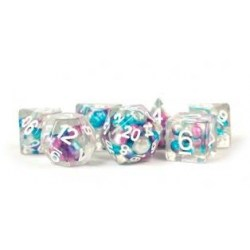 Комплект D&D зарове - Resin Pearl Gradient Purple w/ White Numbers 16mm  Poly Dice Set в Зарове за игри