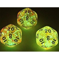 Polyhedral 7-Die Set: Chessex Lab Luminary Nebula Supernova/White (7+1, Glowing/Sparkle) in D&D Dice Sets
