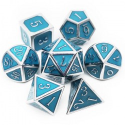 Комплект D&D зарове: Metal & Enamel 7 Dice Set Blue (светещи) в D&D и други RPG / D&D Зарове