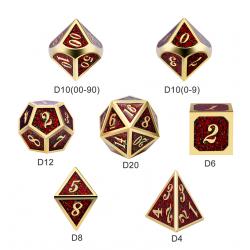 Комплект D&D зарове: Metal & Enamel 7 Dice Set Fireflies в D&D и други RPG / D&D Зарове
