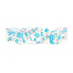 Metallic Dice Games - Clear Confetti with Blue Numbers Numbers 16mm Poly Dice Set in D&D Dice Sets