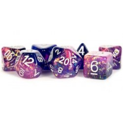 Metallic Dice Games - Eternal Purple and Blue 16mm Resin Poly Dice Set in D&D Dice Sets