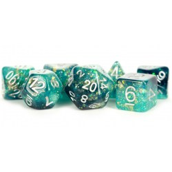 Metallic Dice Games - Eternal Teal and Black 16mm Resin Poly Dice Set in D&D Dice Sets