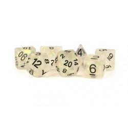 Metallic Dice Games - Icy Opal Clear with Black Numbers 16mm Poly Dice Set in D&D Dice Sets
