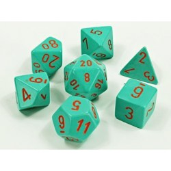 Polyhedral 7-Die Set: Chessex Lab Heavy Turquoise/Orange (7+1) in Dice sets