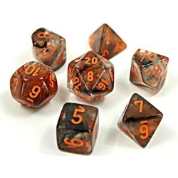 Polyhedral 7-Die Set: Chessex Lab Luminary Nebula Copper-Matrix/Orange Glow (светещи, 7+1 зара в тубус) в D&D и други RPG / D&D Зарове