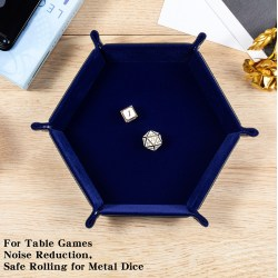 "Dice Habit: Hexagon Velvet Folding Dice Tray 4.2""x4.2"" - Blue"