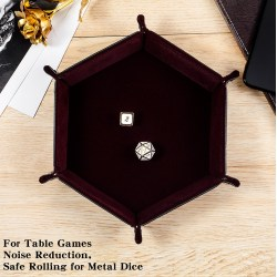 "Dice Habit: Hexagon Velvet Folding Dice Tray 4.2""x4.2"" - Maroon"