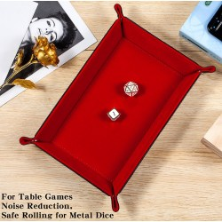 "Dice Habit: Velvet Folding Dice Tray 8.86""x5.9"" - Red"
