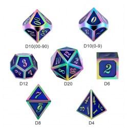 Комплект D&D зарове: Metal & Enamel 7 Dice Set Blue Iridescence в D&D и други RPG / D&D Зарове