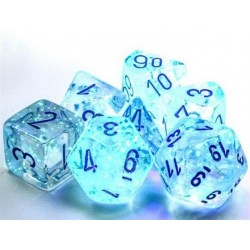 Polyhedral 7-Dice Set: Chessex Luminary Borealis Icicle & Light Blue (Glowing/Sparkle) in Dice sets