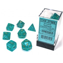 Комплект D&D зарове: Chessex Luminary Borealis Teal & Gold (Glowing/Sparkle) в Зарове за игри