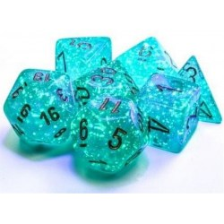 Polyhedral 7-Dice Set: Chessex Luminary Borealis Teal & Gold (Glowing/Sparkle) in Dice sets