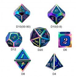 Metal & Enamel 7 Dice Set: Aquamarine Iridescence in D&D Dice Sets