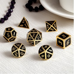 Комплект D&D зарове: Metal & Enamel 7 Dice Set Black & Gold в D&D и други RPG / D&D Зарове