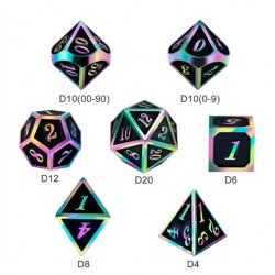 Комплект D&D зарове: Metal & Enamel 7 Dice Set Black Iridescence в D&D и други RPG / D&D Зарове
