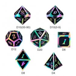 Комплект D&D зарове: Metal & Enamel 7 Dice Set Black Iridescence в D&D и други RPG / D&D Зарове