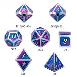Комплект D&D зарове: Metal & Enamel 7 Dice Set Cotton Candy в D&D и други RPG / D&D Зарове
