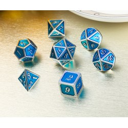 Комплект D&D зарове: Metal & Enamel 7 Dice Set Cyan & Silver в D&D и други RPG / D&D Зарове