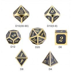 Комплект D&D зарове: Metal & Enamel 7 Dice Set Gray & Gold в D&D и други RPG / D&D Зарове