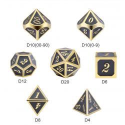 Metal & Enamel 7 Dice Set: Gray & Gold in D&D Dice Sets
