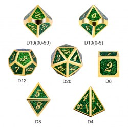 Комплект D&D зарове: Metal & Enamel 7 Dice Set Green Glitter в D&D и други RPG / D&D Зарове
