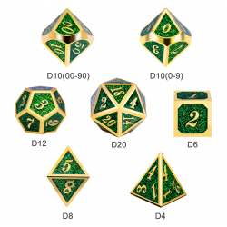 Metal & Enamel 7 Dice Set: Green Glitter in D&D Dice Sets