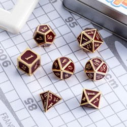 Комплект D&D зарове: Metal & Enamel 7 Dice Set Maroon & Gold в D&D и други RPG / D&D Зарове