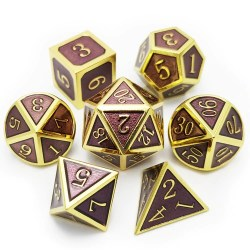 Комплект D&D зарове: Metal & Enamel 7 Dice Set Plum & Gold в D&D и други RPG / D&D Зарове