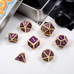 Комплект D&D зарове: Metal & Enamel 7 Dice Set Purple Glitter в D&D и други RPG / D&D Зарове