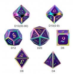 Комплект D&D зарове: Metal & Enamel 7 Dice Set Royal Purple Iridescence в D&D и други RPG / D&D Зарове