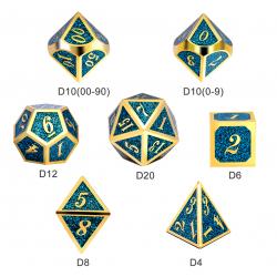 Metal & Enamel 7 Dice Set: Teal Glitter in D&D Dice Sets