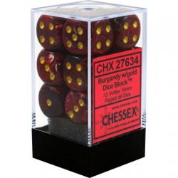 Комплект D6 зарове: Chessex 12 D6 Dice Set - Vortex Burgundy & Gold в Зарове за игри