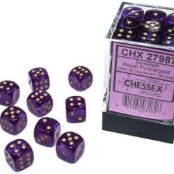 Комплект D6 зарове: Chessex Luminary Glow Royal Purple & Gold 36 броя 12mm (светещи) в Аксесоари / Зарове за игри