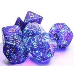 Polyhedral 7-Dice Set: Chessex Luminary Borealis Royal Purple & Gold (Glowing/Sparkle) in Dice sets