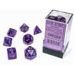 Polyhedral 7-Dice Set: Chessex Luminary Borealis Royal Purple & Gold (Glowing/Sparkle) в Зарове за игри