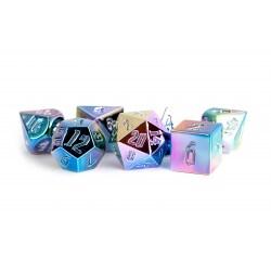 Комплект D&D зарове: Metallic Dice Games - Aluminum Plated Acrylic Rainbow Aegis Uninked in D&D Dice Sets
