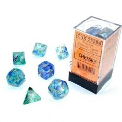 Комплект D&D зарове: Chessex Luminary Nebula Oceanic & Gold (светещи) в Зарове за игри