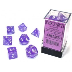 Polyhedral 7-Dice Set: Chessex Luminary Borealis Purple & White (Glowing/Sparkle) in Dice sets
